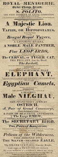 A handbill from the Royal Menagerie listing the animals on view, including a lion, an elephant and a nilghau.