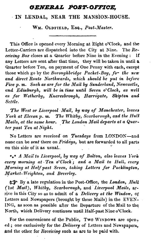 Newspaper notice about the new post office