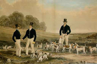Painting of men on foot with a pack of beagles
