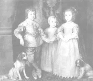 Engraving of a portrait of the children of Charles I with a pair of Charles I spaniels.