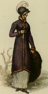Print of a lady wearing a three-quarter length coat and holding a large fur muff