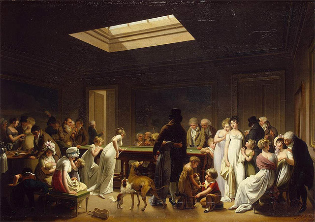 A group of people watching a game of billiards