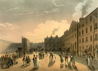 Period street view in front of Kings Bench prison
