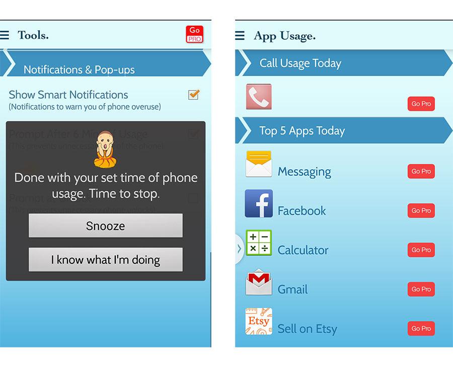 Screenshots of Break Free App