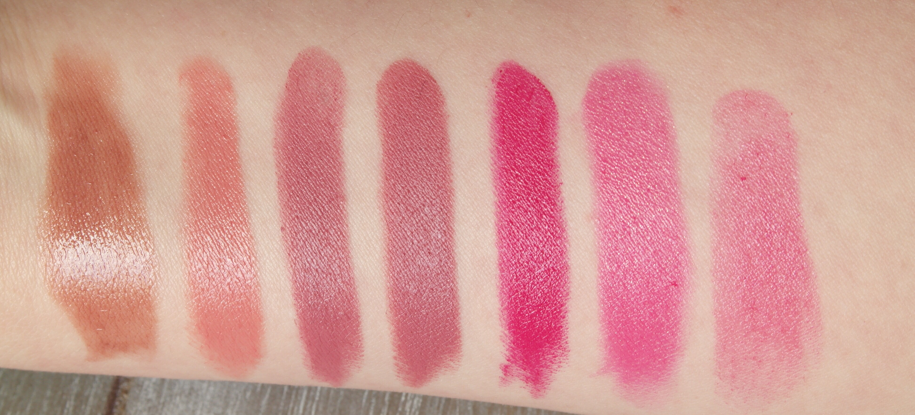 Swatches - Deauville, Pretty, Honesty, Anna, Velvet Underground, Incorrigible, Rose Delice