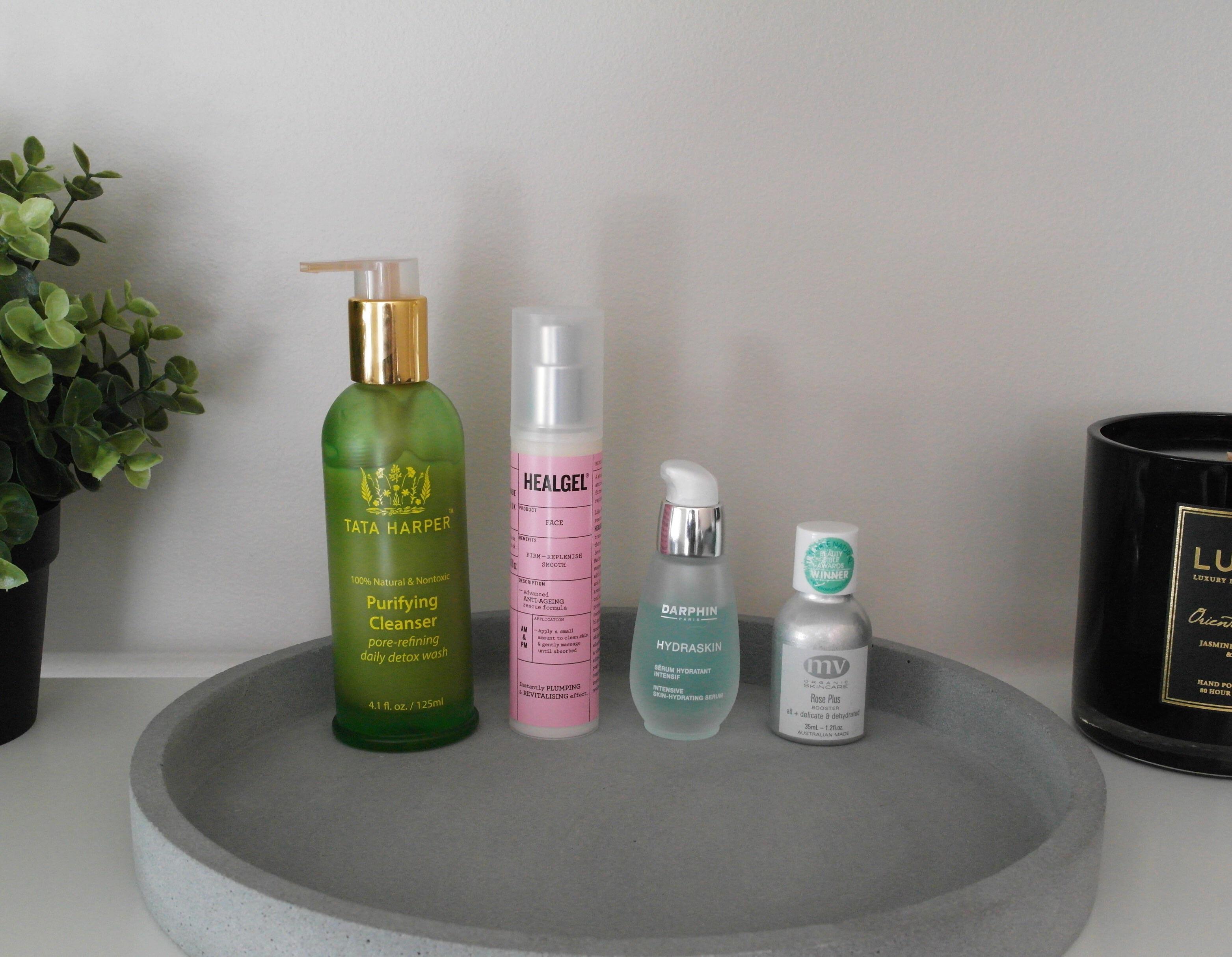 Tata Harper Purifying Cleanser, Heal Gel Face, Darphin Hydraskin Serum, MV Organics Rose Plus Booster