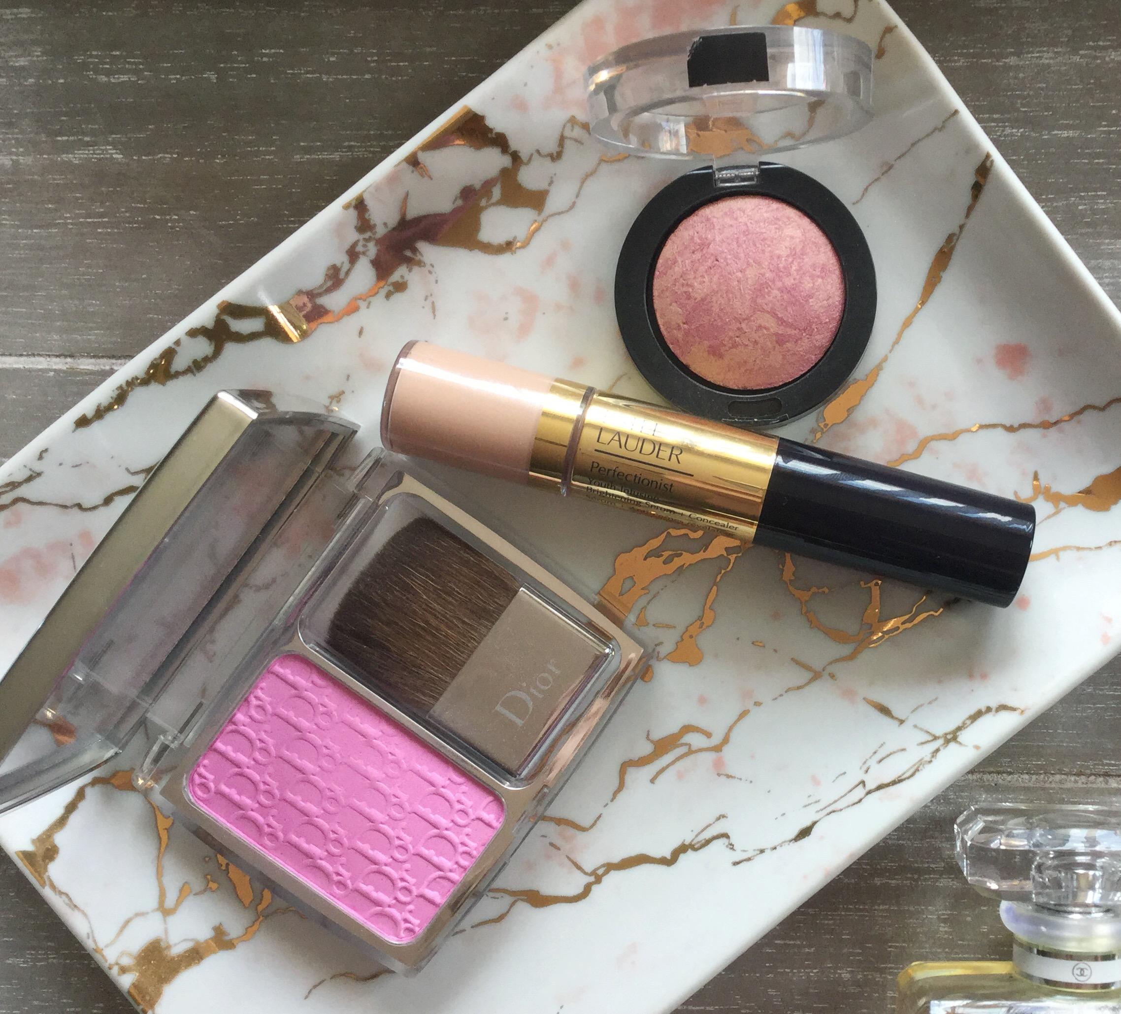 Dior Rosy Glow, Estée Lauder Perfectionist Serum & Concealer, Max Factor Creme Puff Blush Seductive Pink