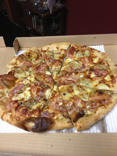 The organic pizza was excellent! It had potatoes and bacon on it, a great combination! And the pizza was big enough that I will have leftovers tonight! Generally I cook or my parents cook for me, so pizza is a nice splurge and treat for for me.