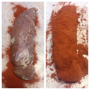 After my loin cured for two weeks and then in it's coat of paprika.