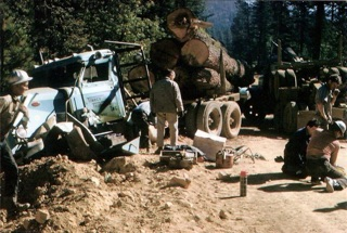 The wreck of the Gobbler on the road to the Greenville Saddle, Homer Lake Timber Sale c. 1967.