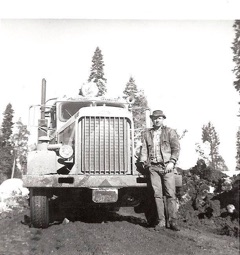 Greenville's Jake Jenner with the Plumas Queen. Swain Mountain c. 1965.