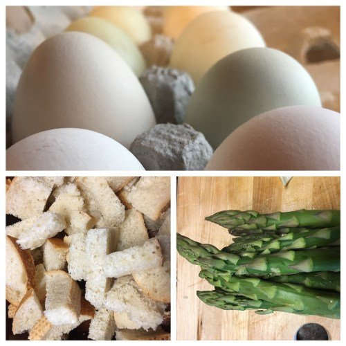 Fresh ranch eggs, leftover bread and spring asparagus!