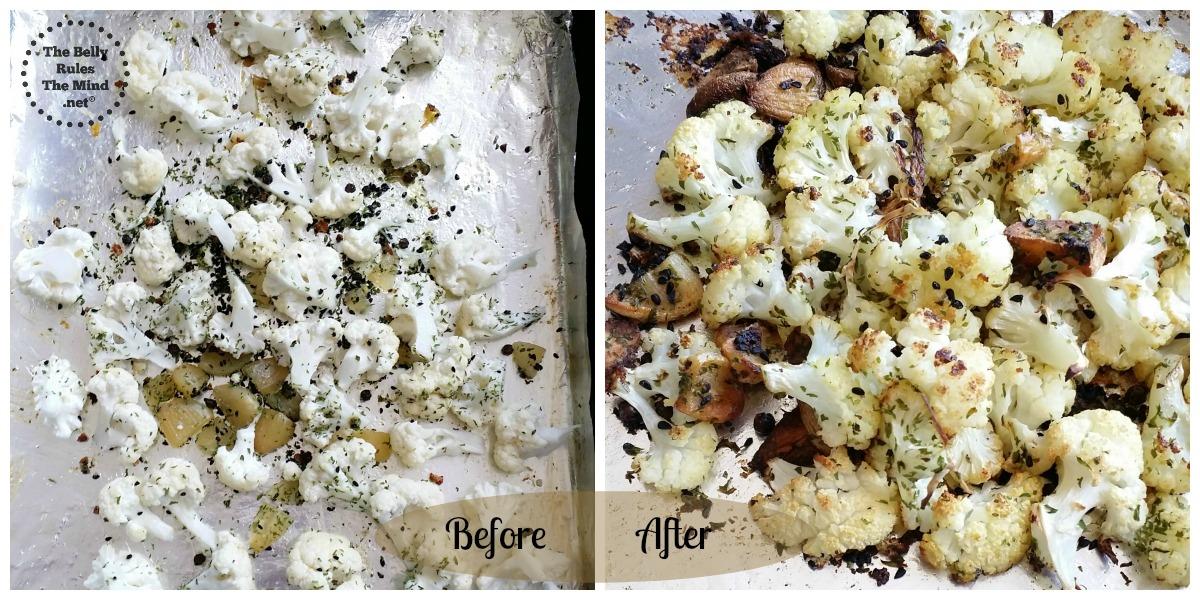 Roasting the cauliflower