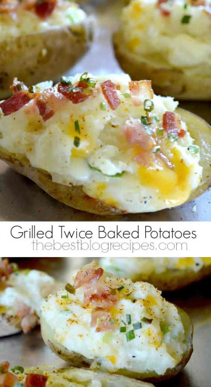 Grilled Twice Baked Potatoes from thebestblogrecipes.com