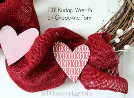 Valentine's Day Burlap Wreath featured on 25 Valentine's Day Crafts from The Best Blog Recipes