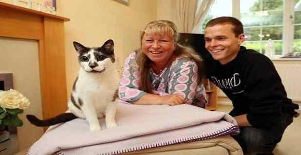 Owner Jane Leggott and son Stefan, 21, with Smokie.