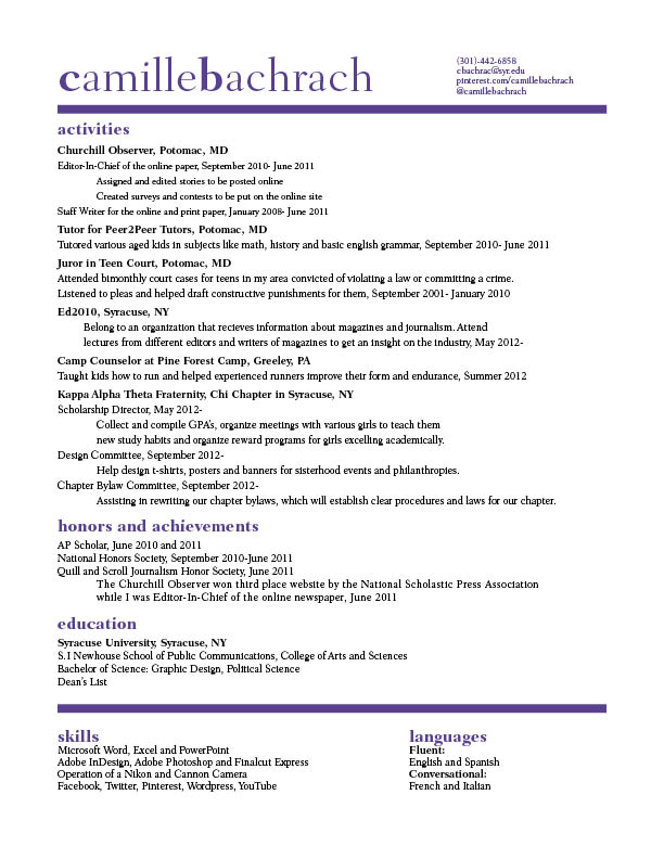 Camille Bachrach Resume The Best GRA 217 Blog