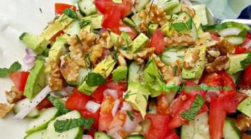 Tomato Avocado Cucumber Walnut Salad