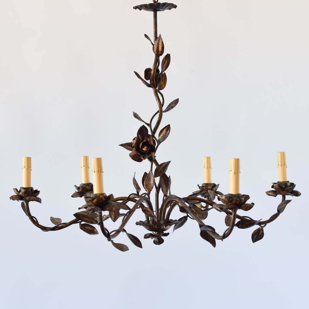 Spanish Chandelier Spanish Gilded Chandelier W Leaves And Flowers