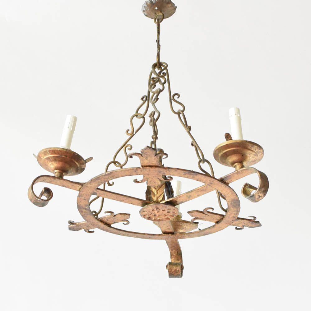 Suspension Chandelier Small Gilded Ring Chandelier