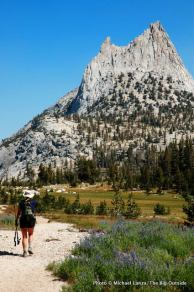Heather Dorn on JMT below Cathedral Peak, Yosemite.