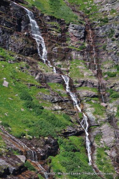 Waterfall above Gunsight Pass Trail.