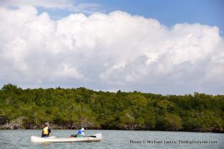 Canoeing Indian Key Pass, Everglades.