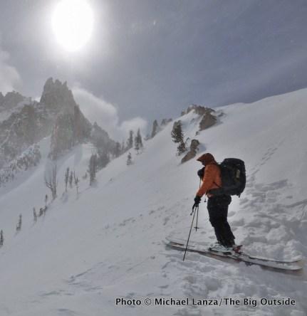 Backcountry skiing below Mt. Heyburn, Sawtooth Mountains, Idaho.