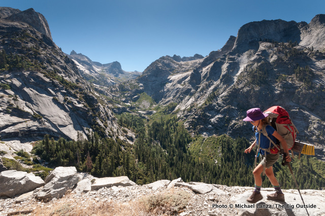 Hiking the High Sierra Trail above the Middle Fork Kaweah River, Sequoia National Park.