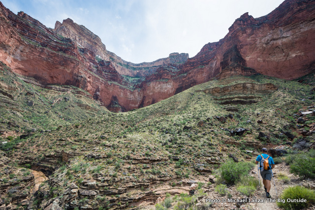 Hiking the Tonto Trail between Hermits Rest and the Bright Angel Trail, Grand Canyon.