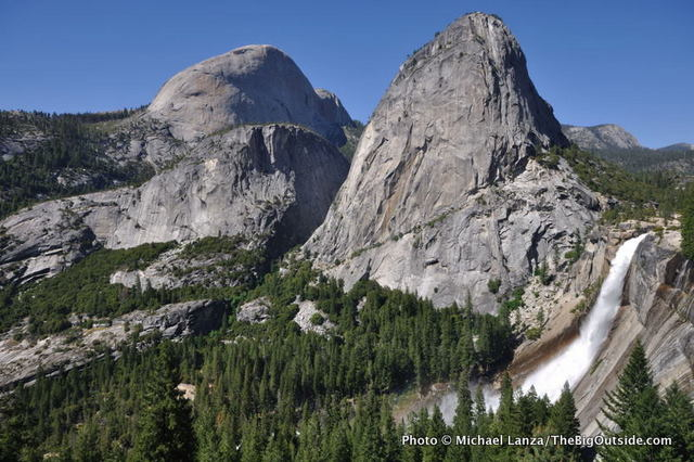 Half Dome (left), Liberty Cap, and Nevada Fall, from the John Muir Trail.