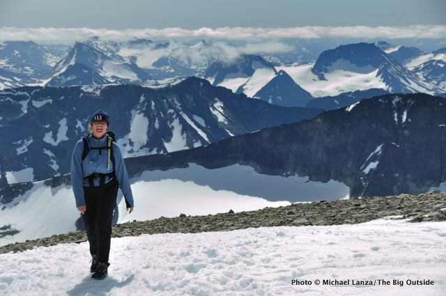 My wife, Penny, near the summit of Norway's highest peak, Galdhøpiggen (2,469m).