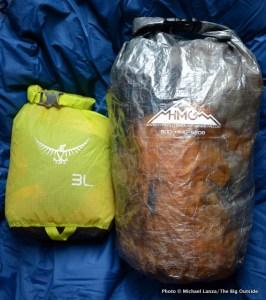Osprey & Hyperlite Mountain Gear stuff sacks.
