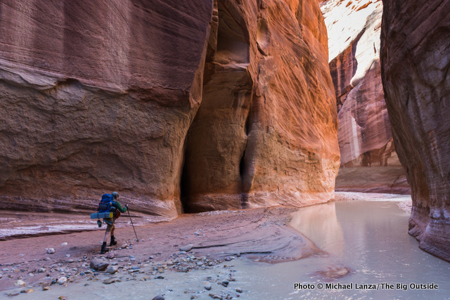 My son backpacking the Paria Canyon narrows in his Salomon Quest 4D 2 GTX boots.