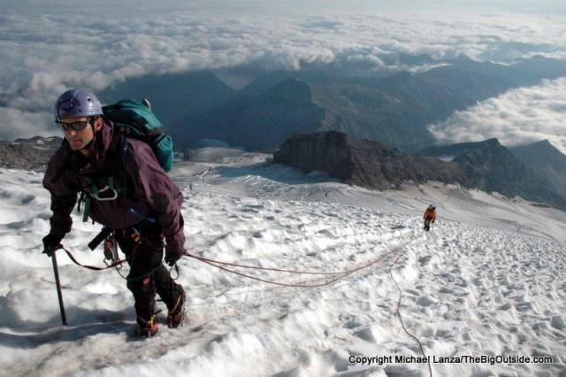 Bill Mistretta and Shannon Davis on Mount Rainier's Emmons Glacier.