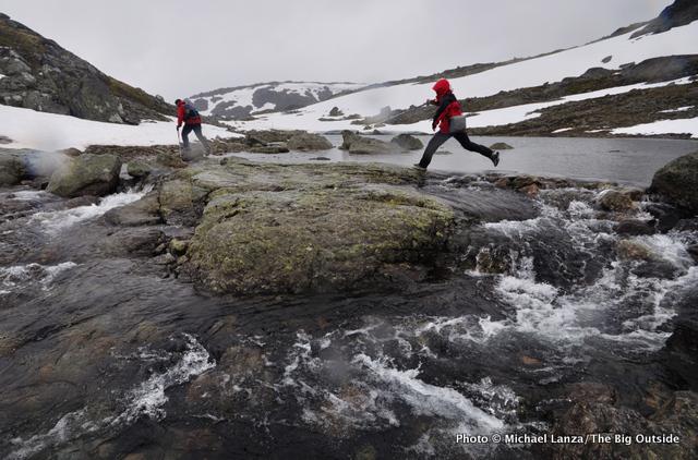 Hiking above Fondsbu in Jotunheimen National Park, Norway.