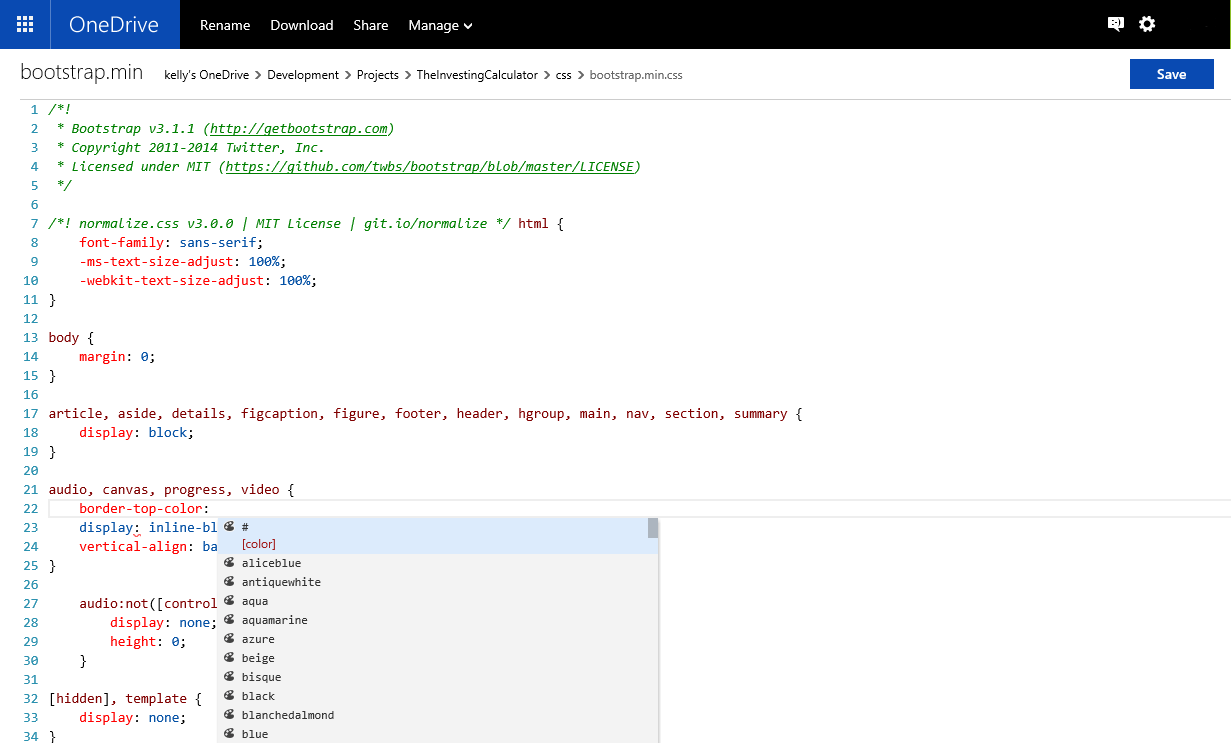 Javascript Cloud Edit Html Css And Javascript Files In The Cloud Using Onedrive