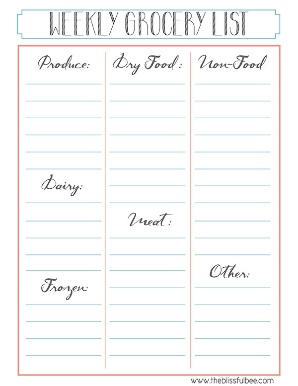 Meal Schedule  Grocery List Printable \u2013 THE BLISSFUL BEE
