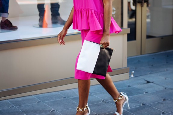 fashion week, new york fashion week, NYFW, black & white clutch, pink dress, giuseppe zanotti heels