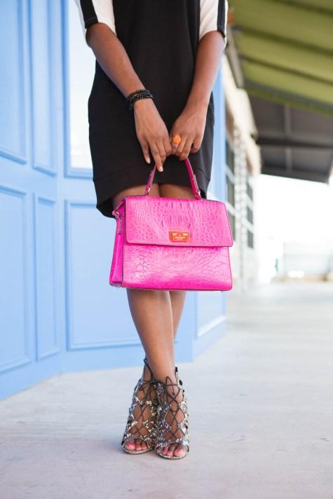 pink kate spade, pink purse, pink bag, kate spade, style blogger, blogger style, blogger fashion, lace up heels, snake skin heels, dolce vita, dolce vita heels