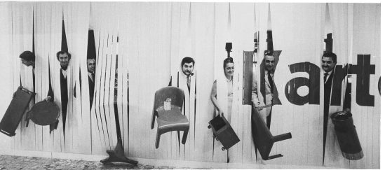 Kartell designers (incuding Anna Castelli Ferrieri) at Salone Del Mobile in Milan, 1969