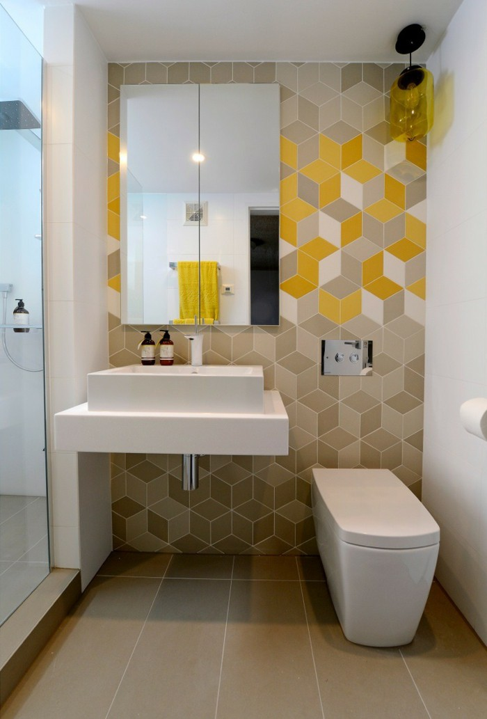Bathroom tiles coloured wall tiles floor layer ver small for Latest small bathroom designs
