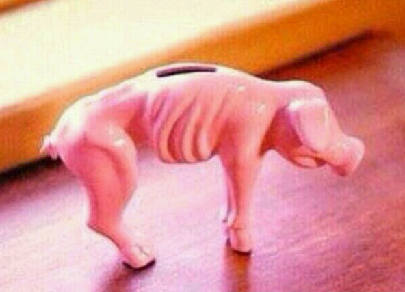 My actual piggy bank. Okay, I lied. Mine is just a skeleton now. The skin has rotted away.