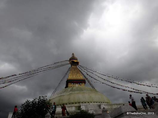 The Bodha Stupa under cloudy skies