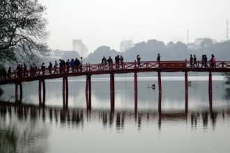 Bridge on Hoan Kiem to Ngoc Son Temple