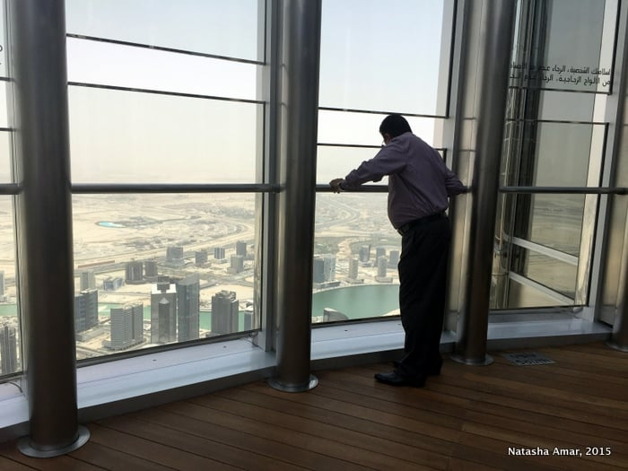 Outdoor terrace of the observation deck on Level 124 at the top burj khalifa