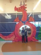 Penny Parker Klosterman with dragon decor
