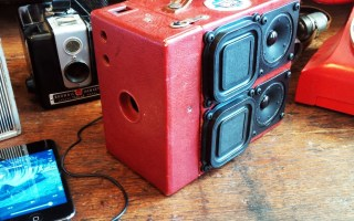 Vintage Camera SuitCase BoomBox Speakers Kodak Brownie Cam Retro Red Snake Skin Charles Bradley Soul