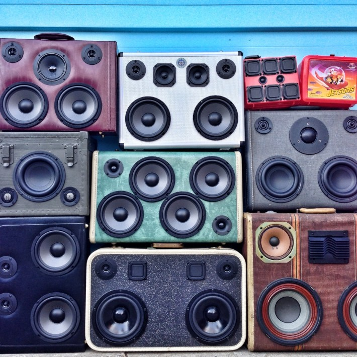 stacks on stacks Thumpinator Thump BoomCase BoomBox Sound Wall WallOfBoom Tower Of Boom Holiday BoomCase Pop Up Shop Popup Store Valencia Mission San Francisco SF Dijital Fix Cool Store Amazing BoomBox Custom Dijital Fix San Francisco California SF The Mission Electronics Goodies sexy