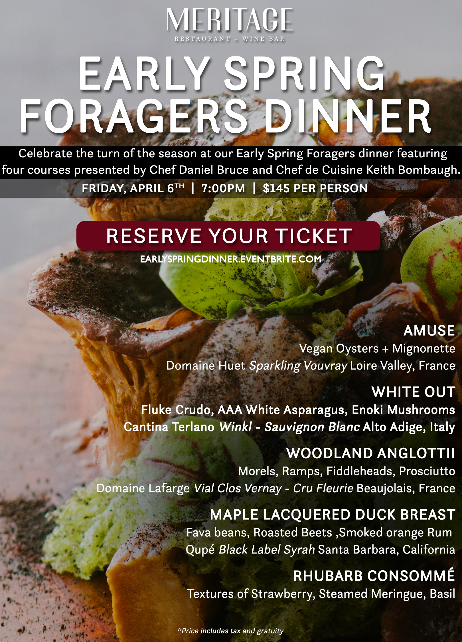 Cuisines Vial Meritage Restaurant And Wine Bar Hosts Early Spring Foragers